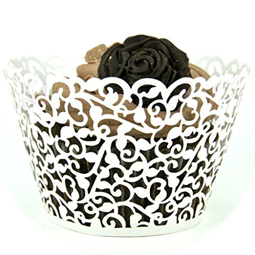 vanki Flower Vine Filigree Lace Cutout Cupcake Wrappers Wraps Liners Wedding Party Cake Decoartion