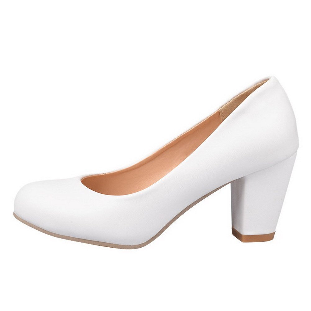 WeiPoot Womens Closed Round Toe Kitten Heel Chunky Heels PU Soft Material Solid Pumps, White, 43
