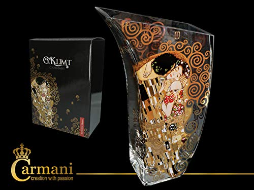 Carmani CR-841-5219, 11-1/2'' Glass Vase with Painting Design, Vintage Bud Vase with Gustav Klimt The Kiss Decoration, Unique Assimetric Flower Jar, Wedding Gift