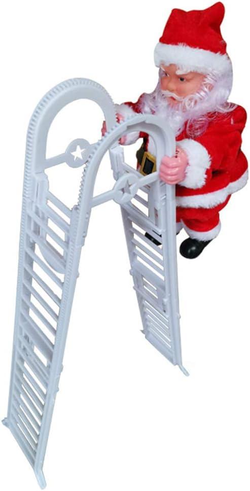 Eléctrica Santa Que Sube Escalera, Creativo Doble Vía De Subir Y Bajar De Santa Claus Muñeca De La Felpa con La Música, Adorno De Navidad Estatuilla De Santa Juguete De La Fiesta