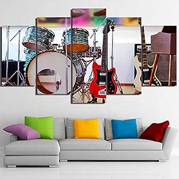 PUHAHA 5 Paneles Arte de Pared de Lona Instrumento Musical Tambor Jazz Guitarra 150X90CM HD Al Óleo Carteles Cuadros Impresiones Pared Moderna Impresa Pintura Creatividad Modular Decoración del Hogar