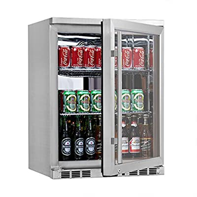KingsBottle 140 Can 1-Door Under Counter Beverage Cooler, Heating Glass