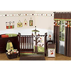 Woodland Forest Animals Owl Deer Tree Baby Boy Nature Bedding 11pc Crib Set without bumper Green