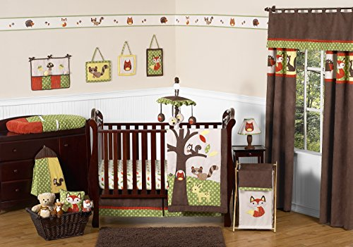 Woodland Forest Animals Owl Deer Tree Baby Boy Nature Bedding 11pc Crib Set without (Baby Boy Owl Bedding Crib Sets)