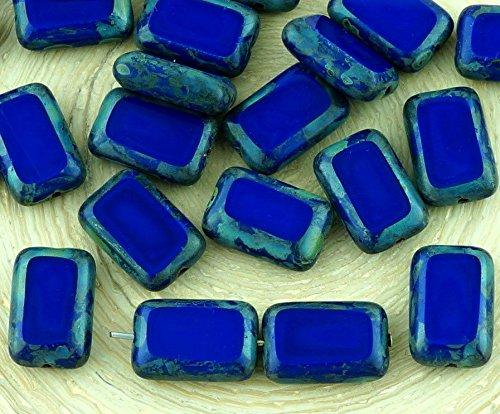 8pcs Picasso Brown Opaque Dark Royal Blue Table Cut Flat Rectangle Czech Glass Beads 8mm x ()