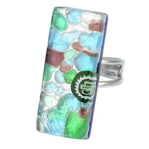 GlassOfVenice Murano Glass Venetian Reflections Rectangular Adjustable Ring - ()