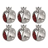 Pomegranate Designed Napkin Rings ~ Set of 6 <br></noscript><img class=