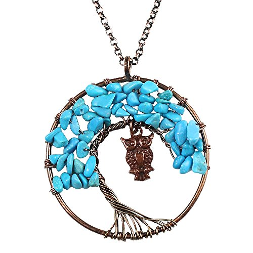 BAYUEBA Tree of Life Pendant Necklace Chakra Gemstone Jewelry Gift for Women (Blue Turquise Owl) ()