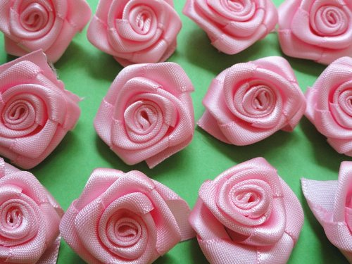 50pcs Satin Ribbon Flower Rose Trim Sewing Free Shipping Pink