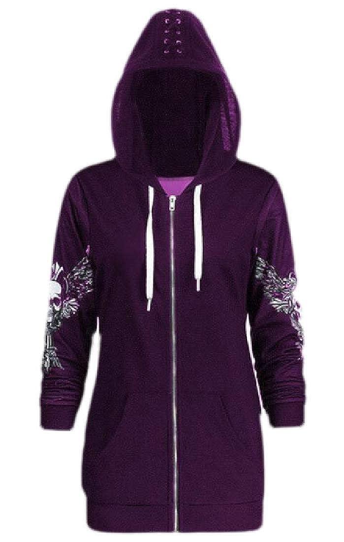 YYG Women Hooded Skull Pockets Zip-Up Stylish Wing Print Sweatshirt Jacket