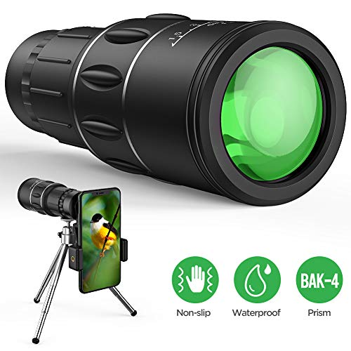 Monocular Telescope, 16X52 High Power HD Monocular with Holder & Tripod for Smartphone, Waterproof Night Vision Clear BAK4 Prism Lens Scope for Bird Watching, Hiking, Camping, Match Watching (1.0)