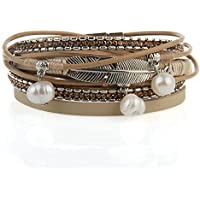 Jenia Casual Women Leather Bracelet Feather and Pearl Wrap Cuff Bangle Handmade Boho Jewelry for Lady, Wife, Teens Girl Gift