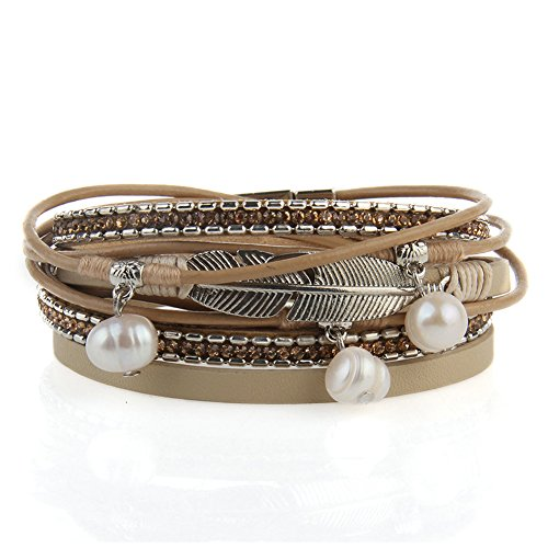 - Jenia Casual Women Leather Bracelet Feather Wrap Cuff Bangle with Pearl Magnetic Clasp