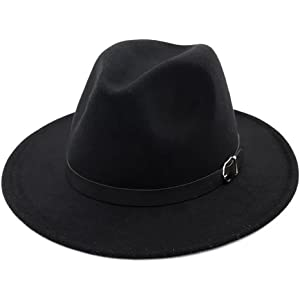 c912ce3491d Lanzom Women Retro Style Wide Brim Panama Hat Belt Buckle Wool Fedora Hat