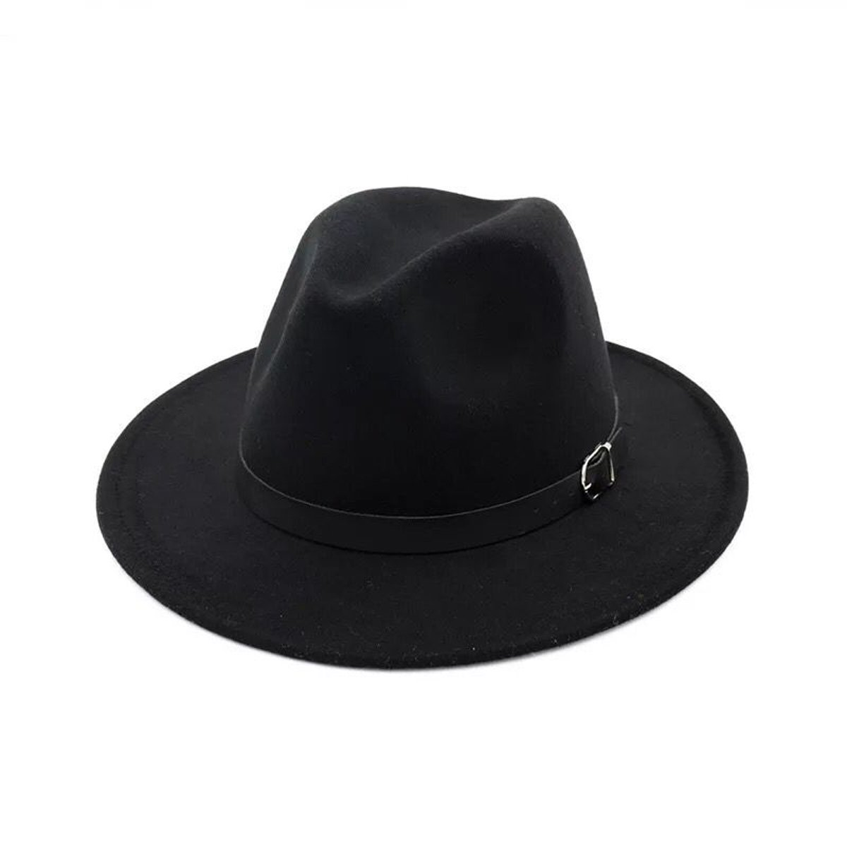 Lanzom Women Men Retro Style Wide Brim Panama Hat Belt Buckle Wool Fedora Hat (Black, One Size)