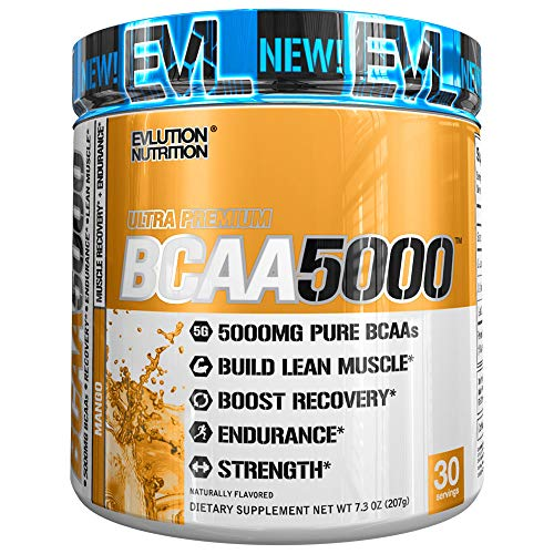 Evlution Nutrition BCAA5000 Powder 5 Grams of Branched Chain Amino Acids (BCAAs) Essential for Performance, Recovery, Endurance, Muscle Building, Keto Friendly, Zero Sugar, 30 Servings, Mango (Bcaa 5000 Grape)