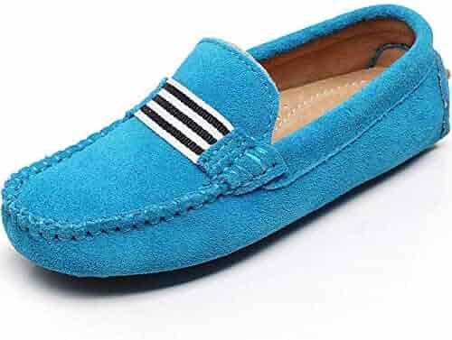 fcec399d5cb Shenn Boys Girls Cute Strap Slip-On Comfortable Dress Suede Leather Loafer  Flats