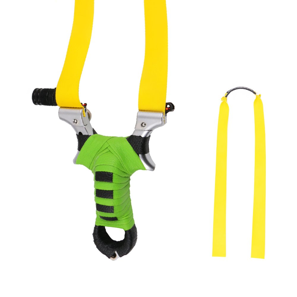 Toparchery Professional Flat Band Slingshot Hunting Detachable Catapult, Upgrade Vision with Rubber Bands, Aiming Points (Green)