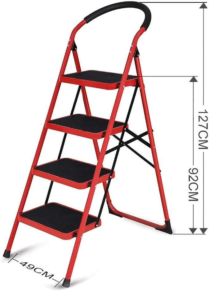 NEVY-Escalera plegable Tubo Engrosado Ensanchamiento Antideslizante Pedalear Hogar Escalera Bajo Escaleras Taburete Pequeño, 3 Tamaños Disponibles (Color : Red, Tamaño : 4-Step): Amazon.es: Hogar