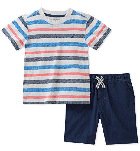 Nautica - Playera para bebé con Pantalones Cortos, Rayas/Azul, 24 Meses