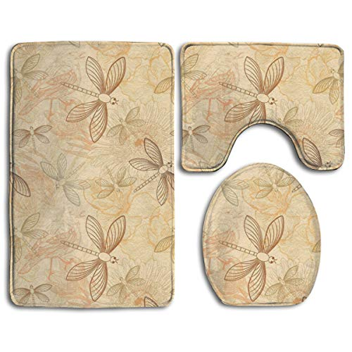 - YINLAN Bath Mat Set 3 Piece Memory Foam Non Slip Water Absorbent Bathroom Carpet U-Shaped Contour Rug + Lid Toilet Cover + Bath Rug Vintage Style Birds and Dragonfly Chic Animal