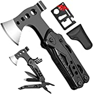 Multitool Comping Accessories,Gifts for Men, Multitool Camping Axe, 15 in 1 Camping Hatchet with Credit Card T