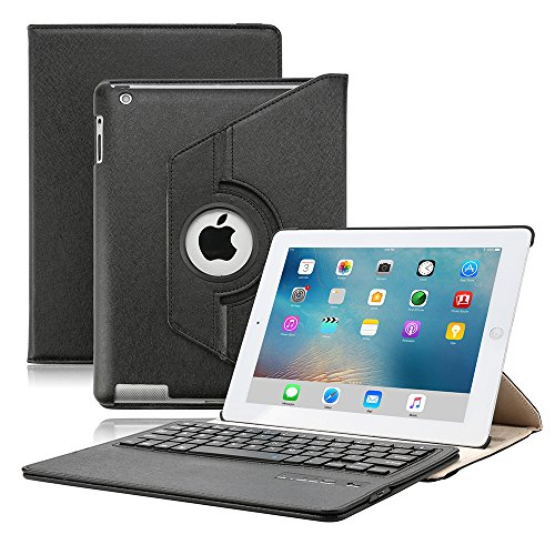 KVAGO Elegant Luxury Stylish iPad 2 3 4 Keyboard Case with 360 Rotating...