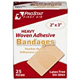 """ProStat First Aid 2071 Bandage Heavy Woven Patch, 3"""" Length x 2"""" Width (Pack of 25)"""