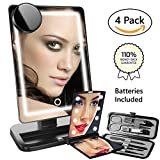 Professional Illuminated LED Makeup Mirror, 4 Piece Cosmetic Kit, Large Vanity Mirrored Eye Make Up, Touch Screen Dimming, Perfect for Girls and Men, Convenient Magnifying, Lightweight Travel, Hollywood Lighted Style with Table Top Clarity Light Up Bulbs, Not USB, Batteries Include
