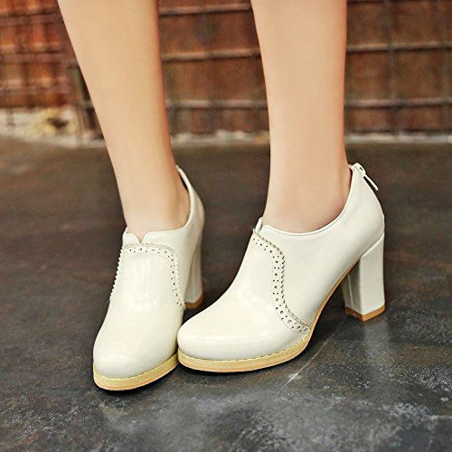 Mee Shoes Women's Chic Zip Block Heel Ankle Boots White Y32EkbO