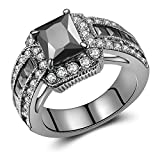 Jewelry Princess-Cut Created Black CZ Diamond Wedding Engagement Ring Set Black Gold Plated (6)