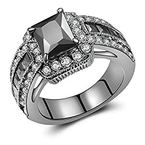Jewelry Princess-Cut Black Gold Created Black CZ Diamond Engagement Wedding Ring Sets (9)