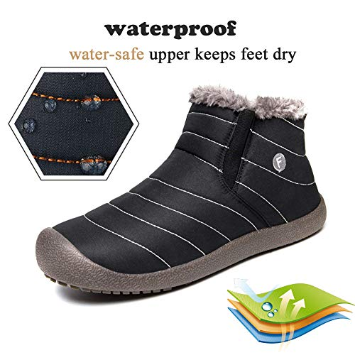 Snow Men Fur ankle Outdoor Black Waterproof Ankle On SITAILE Lined High Boots Boots Slip Winter Booties Women Snow IqnOat