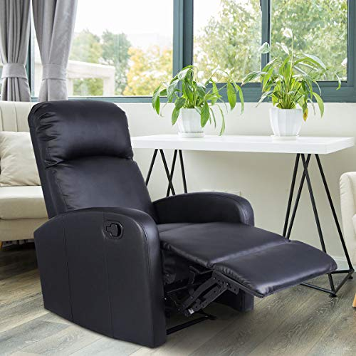 Giantex Manual Recliner Chair Black Lounger Leather Sofa Seat Home Theater (Style 1)