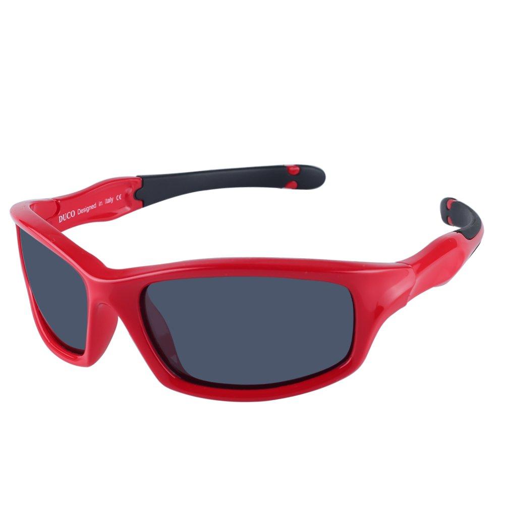 DUCO Occhiali da sole polarizzati stile sportivo Kids K006 K006-Red-UK