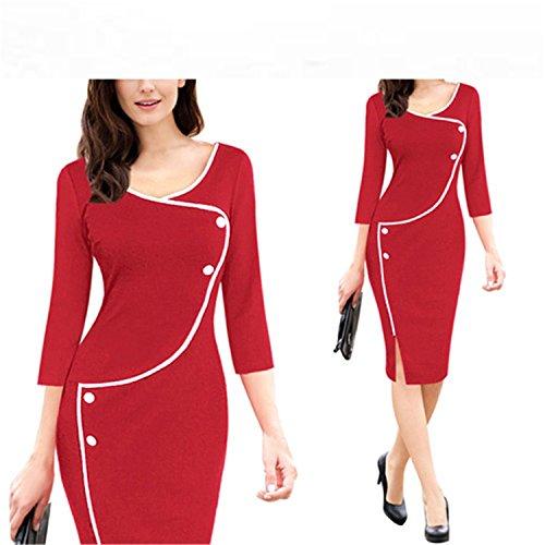 Jacgfe Womens Vintage Split Bottom Elegant Casual Work 3/4 Sleeve Deep O-Neck Bodycon Women Office Pencil Dress Red 2 S (Jeans Sims 2)