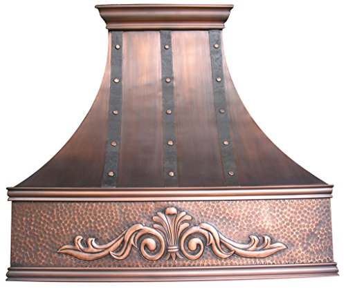 Copper Best H7 361836SD Island Copper Range Hood Handcrafted with Embossed Patterm 36