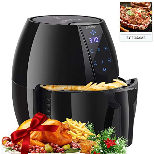 Air Fryers, POSAME 1500W Air Fryer XL 4.2 QT Black LCD Digital Touch Screen Oilless Airfryer for Healthier Crisp Foods, Anti-scratch and Easy Clean Design, Auto Off and Memory Function (What's The Best Air Fryer)