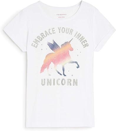 Primark`` - Camiseta de Manga Corta - para niña Blanco Blanco ...