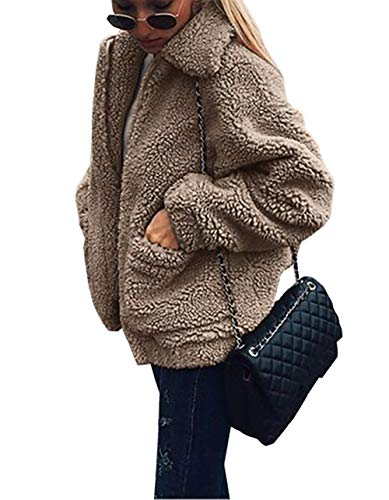 PRETTYGARDEN Women's Fashion Long Sleeve Lapel Zip Up Faux Shearling Shaggy Oversized Coat Jacket with Pockets Warm Winter (Coffee, Small) - Fur Oversized Coat