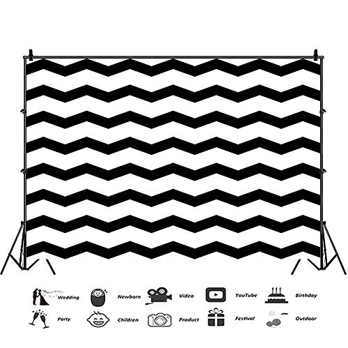 Baocicco 7x5ft Plain Backdrop Chevron Backdrop Black and White Background Photography Background Wallpaper Birthday Party Baby Shower Food Clothes Photo Shooting Props Kids Adults Portrait Studio