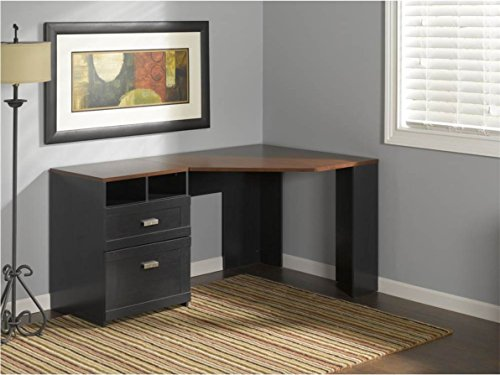 Brand New Bush Furniture Wheaton Reversible Corner Desk Computer Desk,  Cherry U0026 Black Wood