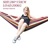 Baskety Portable Outdoor Hammock Hang Bed Travel Camping Swing Canvas with Backpack ( RED 280*150 CM (2 Person) 200 kg)