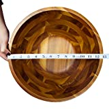 Acacia Wooden Salad Bowl Set - 12.5 Inches Hardwood with Servers Set Big Salad Bowls 3-Piece Set by AIDEA - Best Christmas Gift