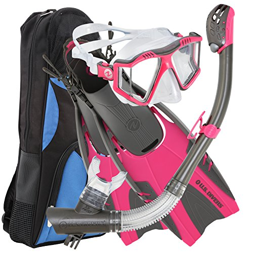 U.S. Divers Lux Platinum Snorkel Set Compatible with GoPro - Panoramic View Mask, Pivot Fins, Dry Top Snorkel + Gear Bag, Pink S/M