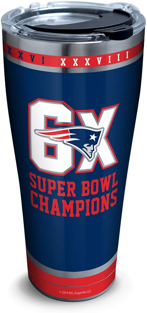 Tervis 1326642 NFL New England Patriots 6X Super Bowl Champion Stainless Steel Insulated Tumbler with Lid 30oz Silver