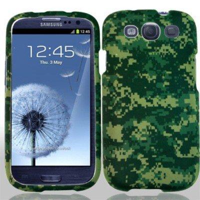 Samsung Galaxy S3 Camo - For Samsung Galaxy S III 3/Galaxy S3/i9300 Hard RUBBERIZED Case Green Camo