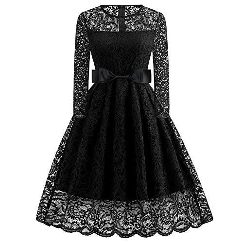 DEATU A Line Dresses for Women Sale, Ladies Elegant Floral Lace Formal Dress Long Sleeve Vintage Party Dresses(Black,XXL)