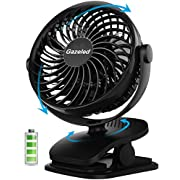 Gazeled Battery Operated Fan, Clip on Fan, Portable/Rechargeable/Desk/Stroller/Quiet Fan with 360 Degree Rotation, 2200mAh Battery for Baby Stroller, Car, Gym, Office, Outdoor, Traveling, Camping
