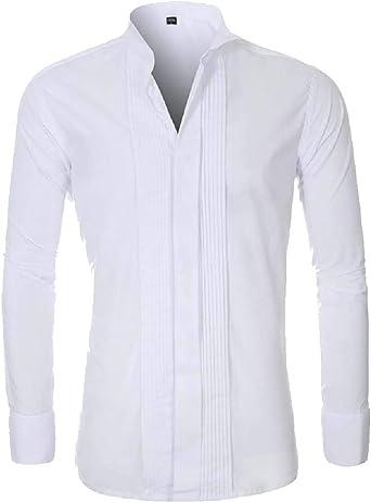 Camisa de Esmoquin para Hombre, Informal, Ajustada, Manga Larga, Cuello Abotonado: Amazon.es: Ropa y accesorios